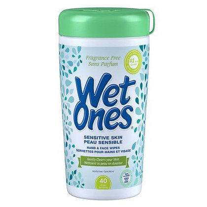 Wet Ones Sensitive Skin Fragrance Free Hand & Face Wipes 40ct
