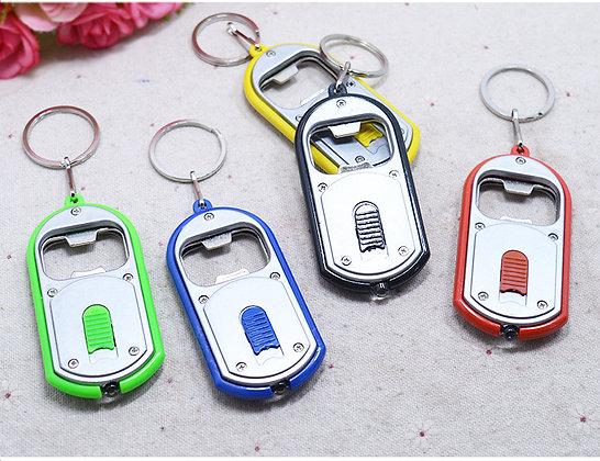 Bottle Opener Keychain with LED Flashlight Jar of 20