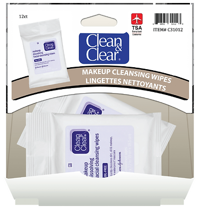 Clean&Clear Facial Cleansing Wipes 7ea, 12ct Gravity Pack