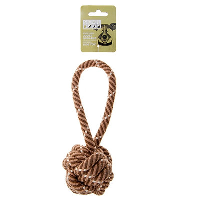 ROPE/BALL DOG TOY, BROWN