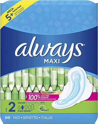 Always Maxi Size 2 Long Super Pads 22ct