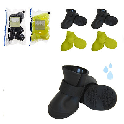 DOG BOOTS, RUBBER, BLACK / YELLOW ASST, LARGE