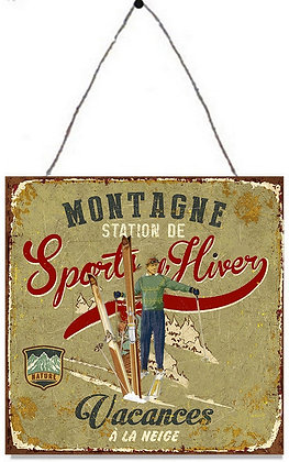 "TIMBER - TIN SIGN, ""SPORT HIVER"", 30X30CM"