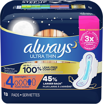 Always Ultra Thin Size 4 Overnight with Flexi-Wings Pads 13ct