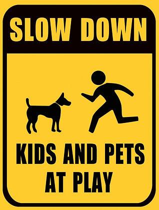 """TIN SIGN, """"KIDS AND PETS AT PLAY"""""""