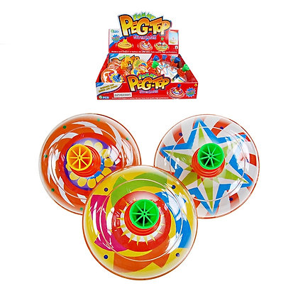 SPINNING TOP TOY, 6 PCS DISPLAY, 3 ASST. COLORS