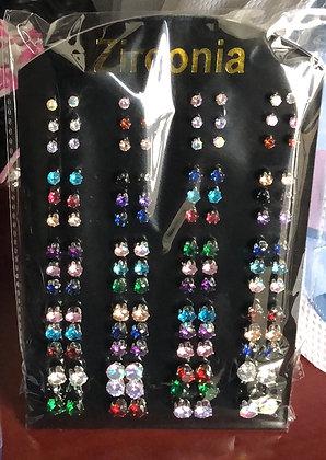 Zircon Color Earrings Display / Boucle Oreilles Couleur Zircon