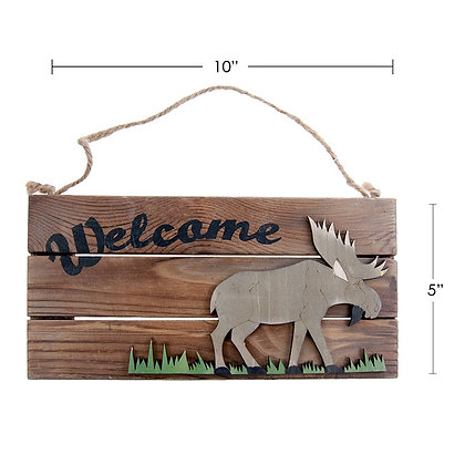 """TIMBER - """"WELCOME"""" SIGN, PICTURE OF A MOOSE"""
