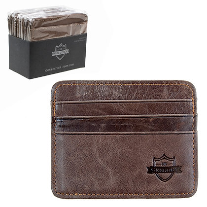 SIR GREGORY - LEATHER CARD HOLDER, 10PC DISPLAY