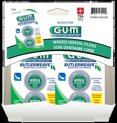GUM ButlerWeave Mint Waxed Floss 2x12yd , 12ct Gravity Pack