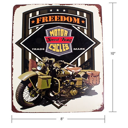 """TIMBER - TIN SIGN, """"MOTORCYCLE FREEDOM"""""""