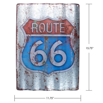 "TIMBER - TIN SIGN, ""ROUTE 66"", CORRUGATED"
