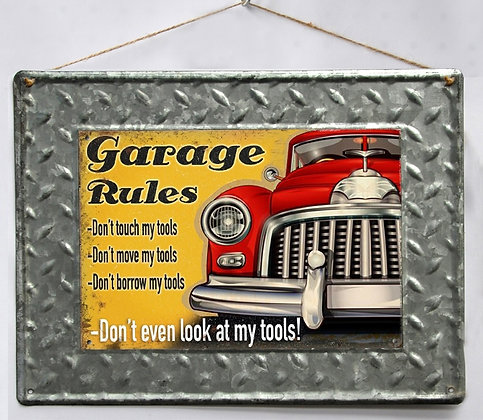 "TIMBER - TIN SIGN, ""GARAGE RULES"", METAL TEXTURE, 30X40CM"