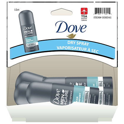 Dove Men+Care Dry Spray Clean Comfort 28g, 12ct Gravity Pack