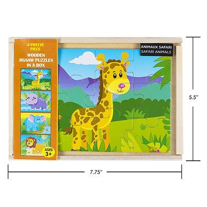iPLAY - WOOD PUZZLE 4-PACK, SAFARI ANIMALS