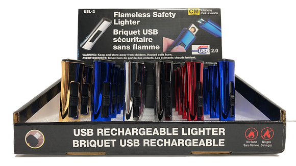 USB RECHAEGEABLE LIGHTER - ASSORTED COLORS