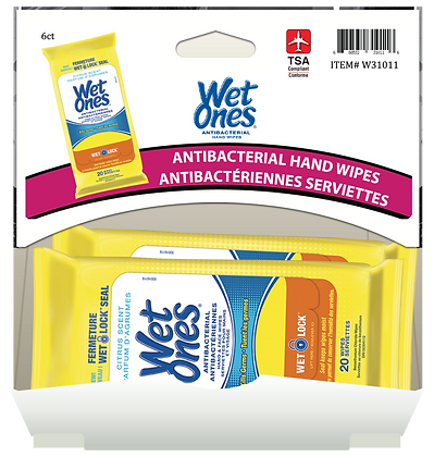 Wet Ones Citrus Antibacterial Hand Wipes 20's, 6ct Gravity Pack