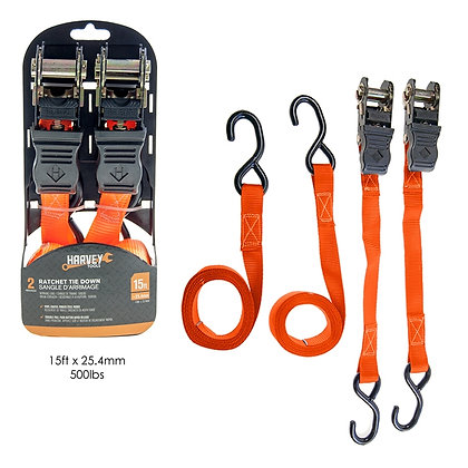 HARVEY TOOLS-2 PCS RATCHET TIE DOWN WITH PLASTIC BOARD ORANG