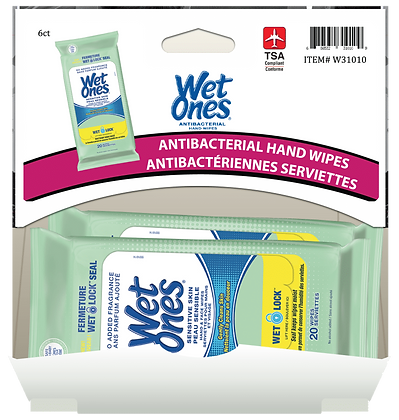 Wet Ones Sensitive Skin Hand & Face Wipes 20's, 6ct Gravity Pack
