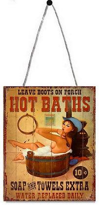 """TIMBER - TIN SIGN, """"HOT BATHS"""", 20X25CM"""