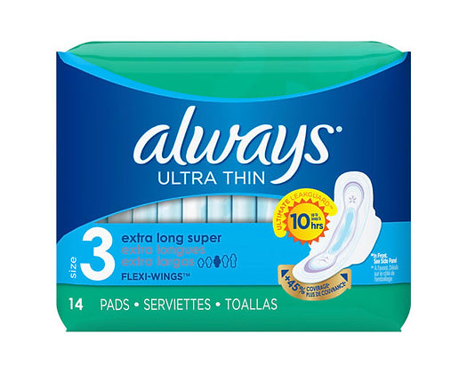 Always Ultra Thin Size 3 Extra Long Super with Flexi-Wings Pads 14ct