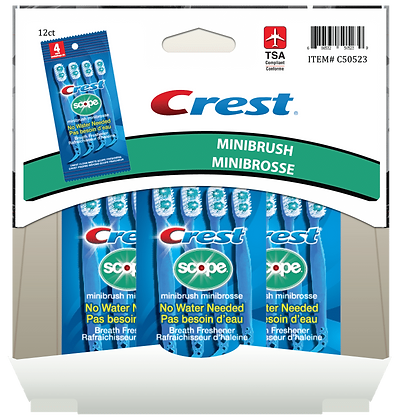 Crest Scope Minibrush 4ea, 12ct Gravity Pack