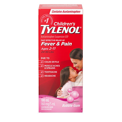 Children's Tylenol Fever & Pain  160mg/5mL Bubblegum 100mL