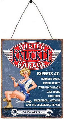 """TIMBER - TIN SIGN, """"BUSTED KNUCKLE"""", 25X33CM"""