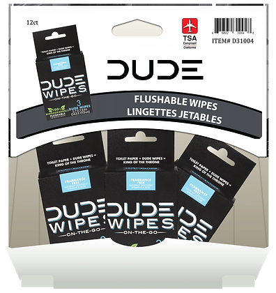 DUDE Wipes 3pk Fragrance Free 12ct Gravity Pack