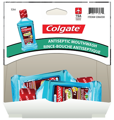 Colgate Total Peppermint Blast Mouthwash 60mL, 12ct Gravity Pack