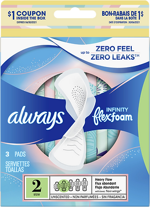 Always Infinity Flexfoam Size 2 Heavy Flow with Flexi-Wings Unscented Pads 3ct