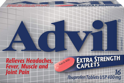 Advil Extra Strength Caplets Ibuprofen Tablets USP 400mg 16ct