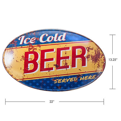 """TIMBER - TIN SIGN """"ICE COLD BEER"""""""