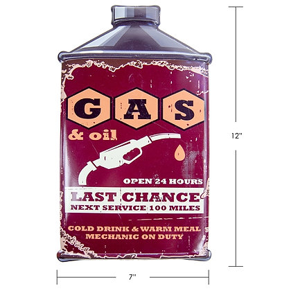 """TIMBER - TIN SIGN """"GAS & OIL, OPEN 24 HOURS"""""""