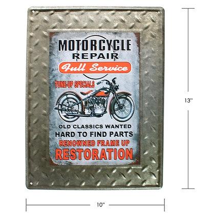 """TIMBER - TIN SIGN, """"MOTORCYCLE REPAIR"""""""