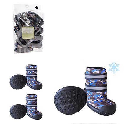 DOG BOOTS, POLYESTER, BLUE CAMOUFLAGE, LARGE