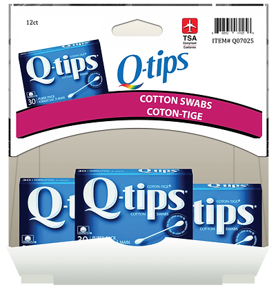 Q-Tips Travel Size 30ea, 12ct Gravity Pack
