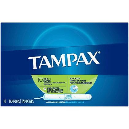 Tampax Super Unscented Cardboard Applicator Tampons 10ct
