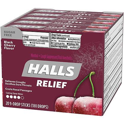 HALLS DROPS 9PACK X 20 BLACK CHERRY