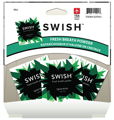 SWISH Fresh Breath Powder - Spearmint 3pk, 40ct Gravity Pack