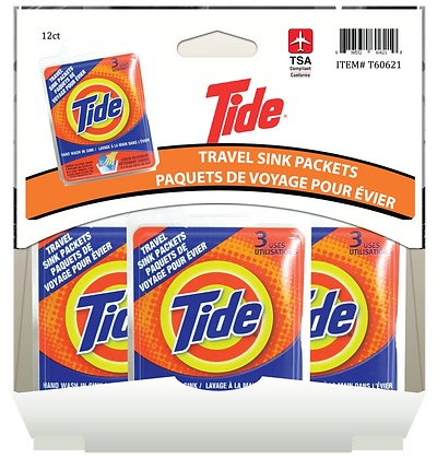 Tide Travel Sink Packets 3x5mL, 12ct Gravity Pack