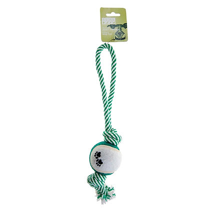 ROPE TOY WITH BALL, GREEN