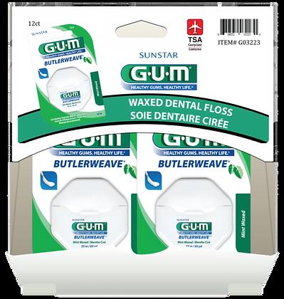 GUM ButlerWeave Mint Waxed Floss, 60yd 12ct Gravity Pack