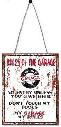 """TIMBER - TIN SIGN, """"RULES OF THE GARAGE"""", 20X25CM"""