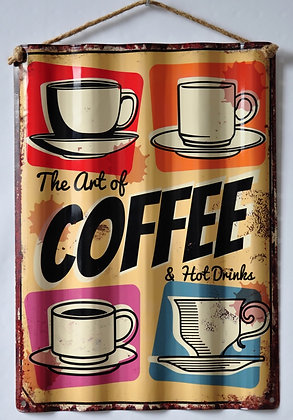 "TIMBER - TIN SIGN, ""THE ART OF COFFEE"", 30X40CM"