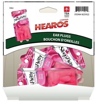 Hearos Ear Plugs Sleep Pretty Pink 5 pair, 10ct Gravity Pack