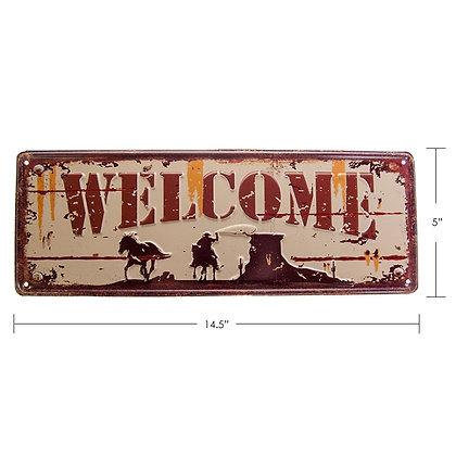 "TIMBER - TIN SIGN ""WELCOME"""
