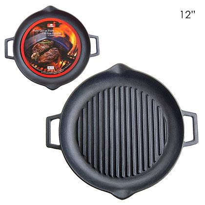 CAST IRON GRILL PAN, 31CM