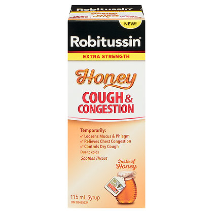 Robitussin Extra Strength Honey Cough & Congestion Syrup 115mL