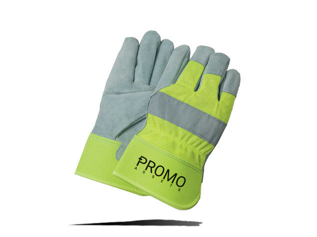 HI-VIZ Suede Cowhide Leather Palm Gloves